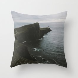 Neist Point Lighthouse at the Atlantic Ocean - Landscape Photography Throw Pillow