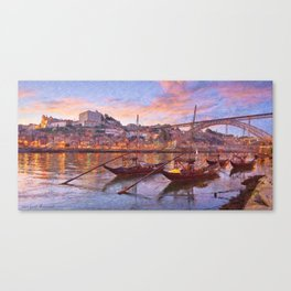 Porto at dusk Canvas Print