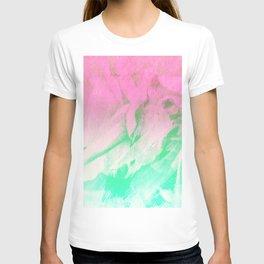 Modern neon pink teal watercolor brushstrokes T-shirt
