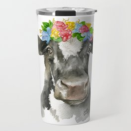 Black and White Cow with Floral Crown Watercolor Painting Travel Mug