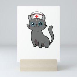 Cute Black Cat Nurse International Nurse Day T-Shirt Mini Art Print