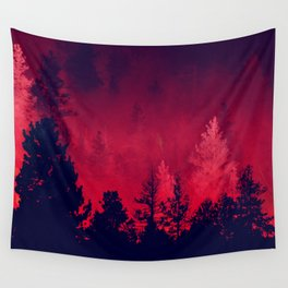 Red Wilderness Wall Tapestry