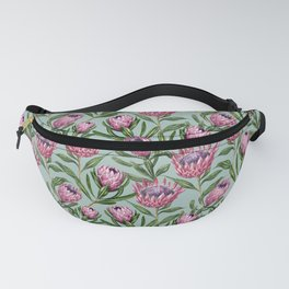 Teal Protea Floral Fanny Pack