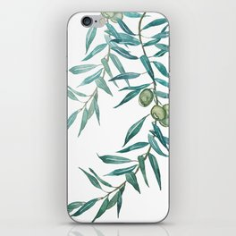 green olive leaf watercolor iPhone Skin