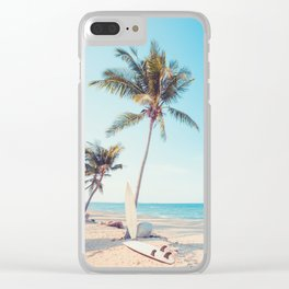 Surfboards on the Beach Clear iPhone Case