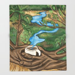 River landscape in a Coffee Cup- Pheasant Branch Conservancy Throw Blanket