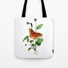 Spangled Fritillary and Violet Tote Bag