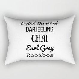 Tea List English Breakfast Chai Earl Grey Rooibos Darjeeling Rectangular Pillow