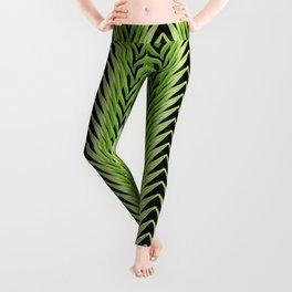 amaryllis stripe on black Leggings