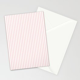 Thin Lush Blush Pink and White Mattress Ticking Stripes Stationery Cards