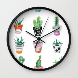 drawing cacti Wall Clock