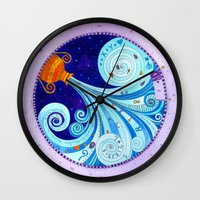 aquarius Wall Clocks featuring Aquarius by Sandra Nascimento