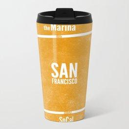 This is SF (Orange) Metal Travel Mug