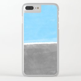 Blue and Gray Watercolor Wash Minimalist Landscape Clear iPhone Case