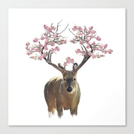 Deer portrait with flowering branches on the horns.Watercolor isolated Canvas Print