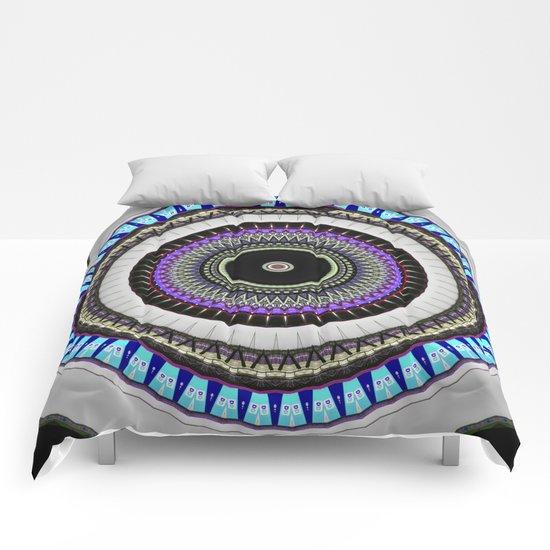 gray blue mandala Comforters