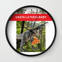 trex Wall Clocks featuring PIZZA TREX!! by anthonykun