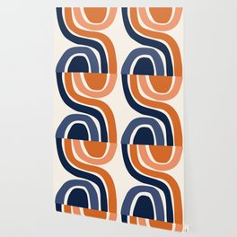 Abstract Shapes 29 in Burnt Orange and Navy Blue Wallpaper