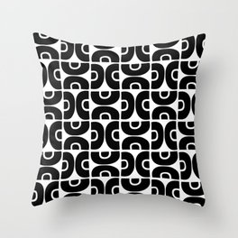 Groovy Mid Century Modern Pattern Black and White Throw Pillow