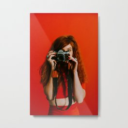 photographer in red Metal Print