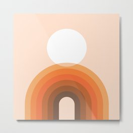 Mid Century Modern Geometric 13 (Rainbow and Sun) Metal Print