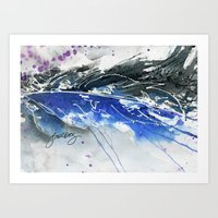Blue and black feather Art Print