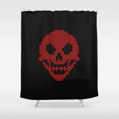 Pixel Skull Shower Curtain