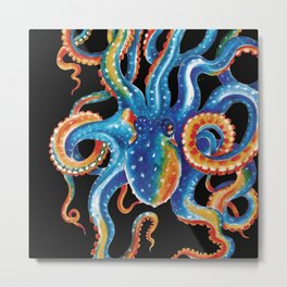 Octopus Colorful Tentacles On Black Metal Print