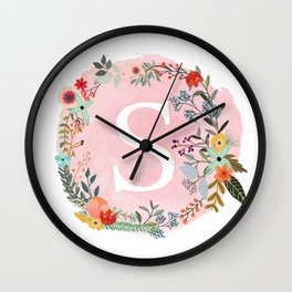 Flower Wreath with Personalized Monogram Initial Letter S on Pink Watercolor Paper Texture Artwork Wall Clock