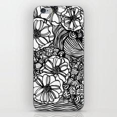 wavy inked floral iPhone Skin