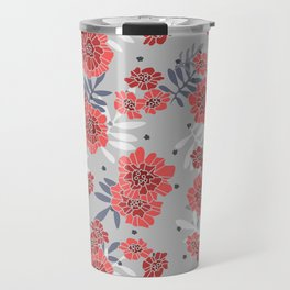 Crimson and Silver Floral Travel Mug