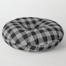 Gray and Black Lumberjack Buffalo Plaid Fabric Floor Pillow