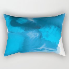 Ocean Blue Watercolor Abstract Rectangular Pillow
