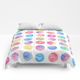 Artistic hand painted pink blue green watercolor brush strokes polka dots Comforters