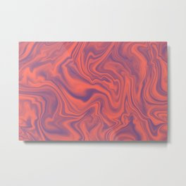 Living Coral - color of year 2019, Ultra Violet Marble Abstract Gradient Pattern Metal Print