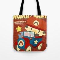 mario kart Tote Bags featuring mario kart vintage by danvinci