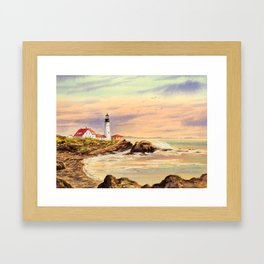 Portland Head Lighthouse Maine Framed Art Print