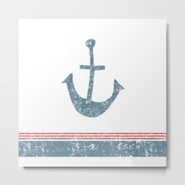 Maritime Design- Nautic Anchor on stripes in blue and red Metal Print
