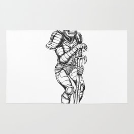 knight skeleton - warrior illustration - skull black and white Rug