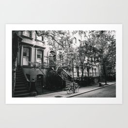 New York City - West Village Street and Bicycles Art Print