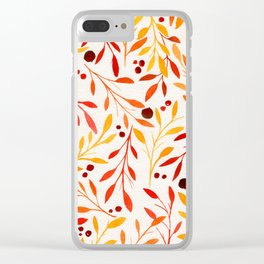 Autumn Leaves - Red and Orange Fall Florals Clear iPhone Case