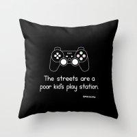 playstation Throw Pillows featuring PlayStation (Black) by Mokokoma Mokhonoana