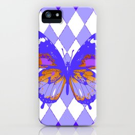 ABSTRACTED PURPLE BUTTERFLY  &  LILAC ARGYLE PATTERN iPhone Case