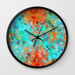 psychedelic geometric circle pattern and square pattern abstract in orange and blue Wall Clock