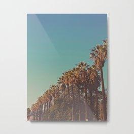 Row of California Palm Tree Nostalgic Vintage Vibes Sepia Sunset Metal Print