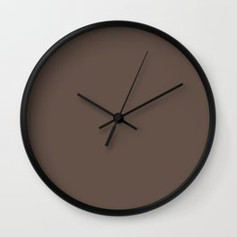 Dark Greyish Brown Solid Color Wall Clock