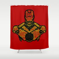 avenger Shower Curtains featuring Iron Avenger by Rachcox