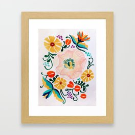 Embroidered Flowers Print Framed Art Print