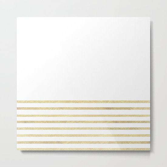 White and Gold Stripes Metal Print