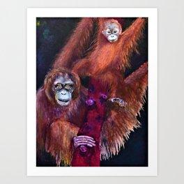 Patient Orangutan Mum and Her Naughty Child Art Print
